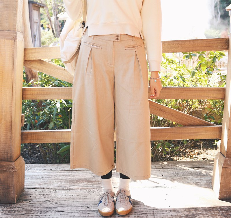Khaki / double bag pleated wide leg pants
