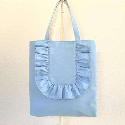 Round Frill Vertical Tote Bag Sachs Blue
