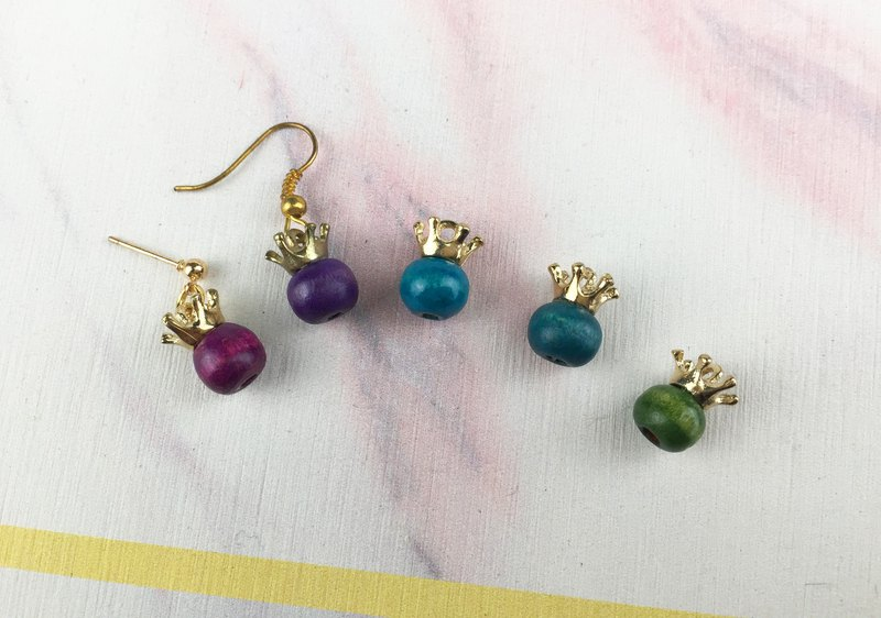 [Little Elf] wooden beads handmade earrings