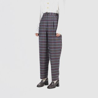 [Egg plant ancient] elated and plaid wide version of woolen vintage trousers