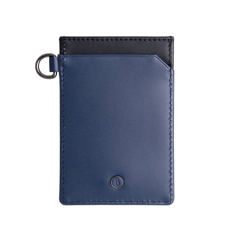 Fusion series cowhide three card two-color straight banknote card holder - blue black
