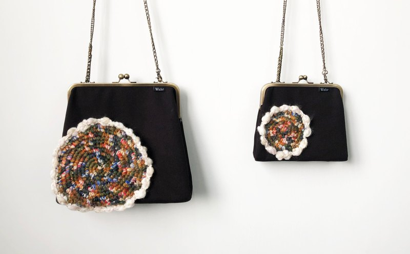 Black weaving clasp frame bag/with chain/ cosmetic bag