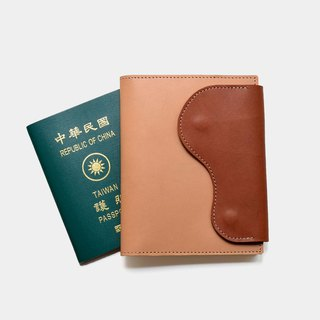 [The meaning of God travel] 鞣 鞣 leather passport set primary color X brown sheath clip lettering gift
