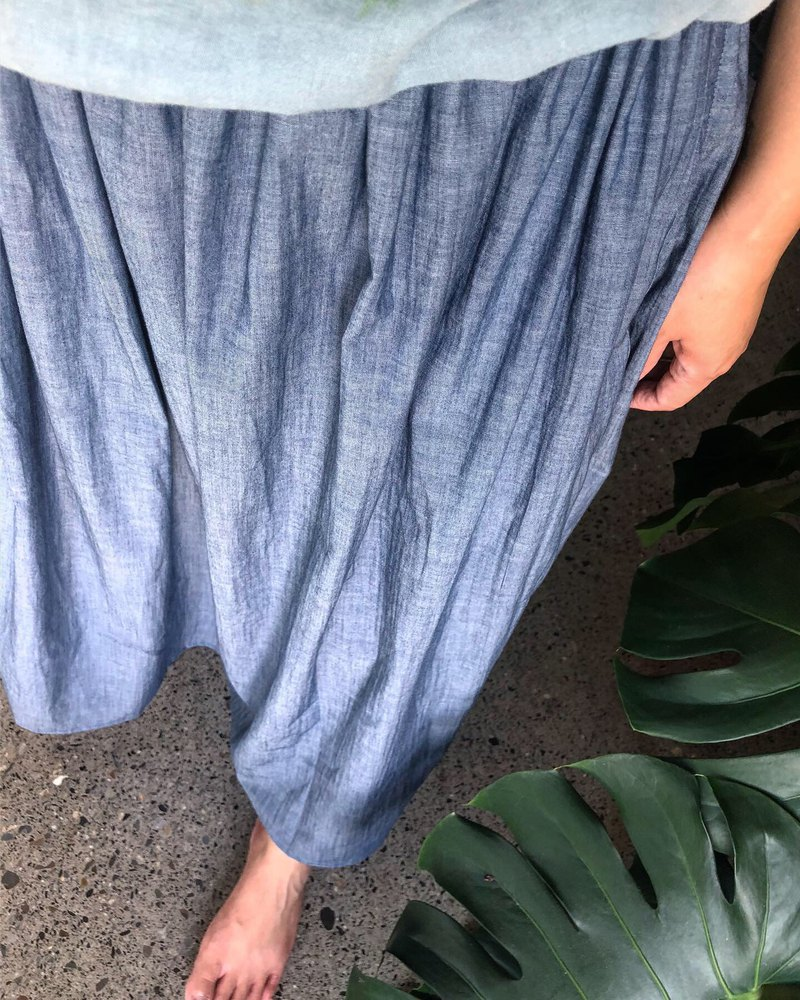 Limited color woven cotton washed cotton light tannin long skirt