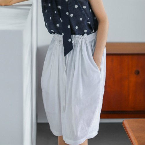 Give you a relaxed summer white linen ramie free waist pumping skirt skirt wind skirt