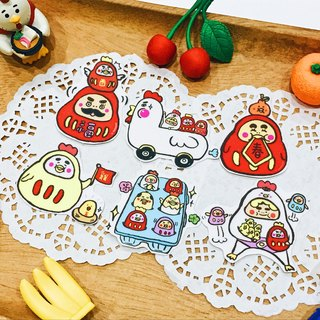 Bright red festive chicken Dharma tumbler sticker pack