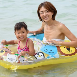 Japan IGARASHI parent-child baby seat - Yellow Zoo Water inflatable mount / riding / row / mattress / swimming ring / floating boat