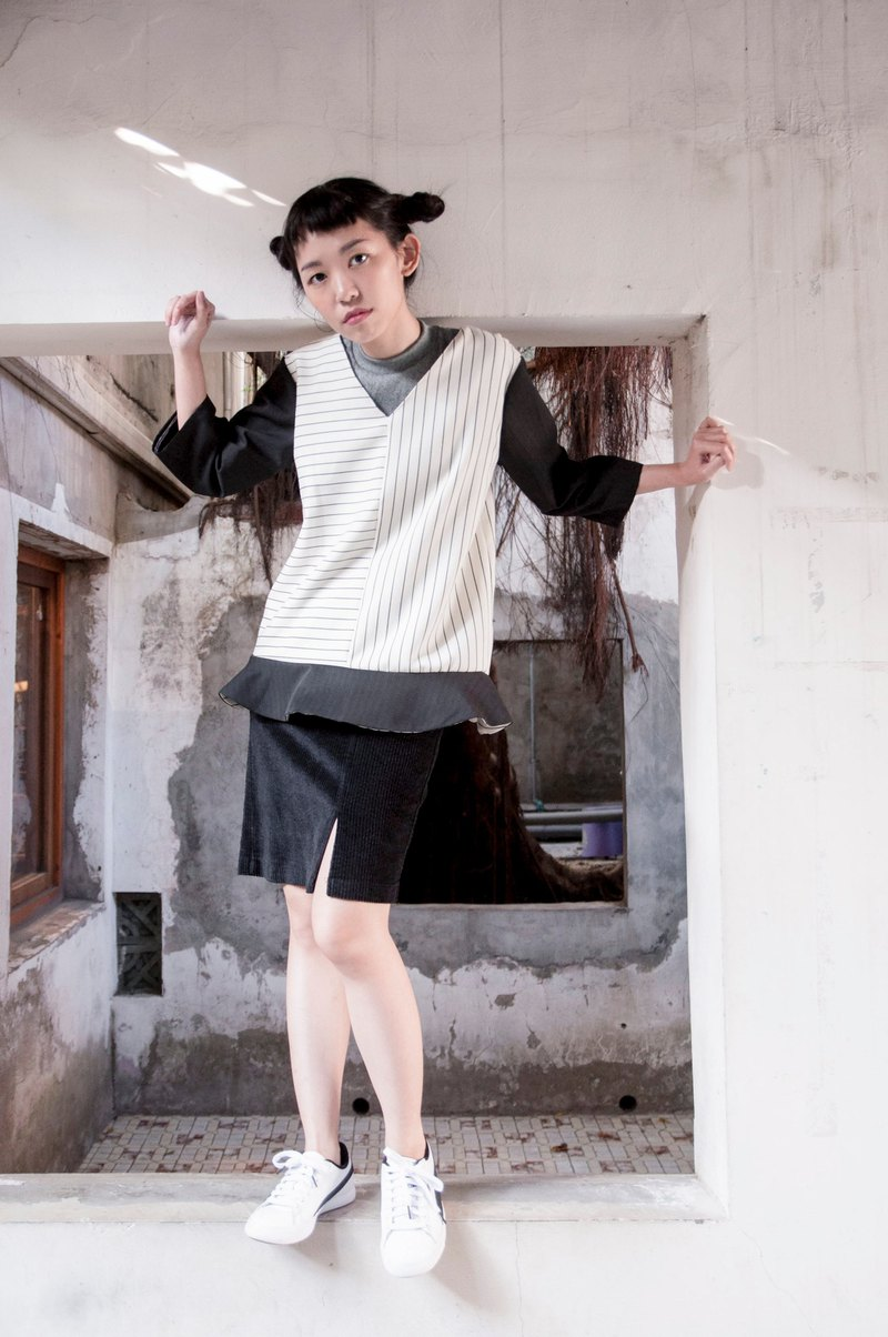Mu Hao: Seven-point sleeve skirt top