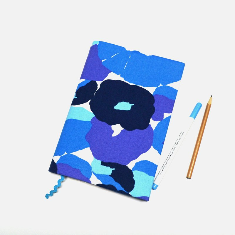 Blue flowers book cover with bookmark handmade Print Cotton Fabric canvas