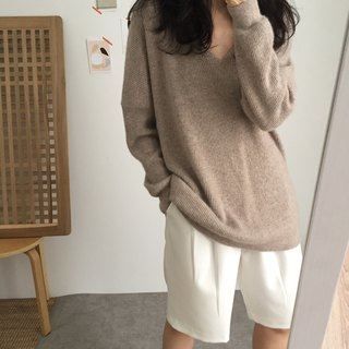 Re Sweater- V-neck Kashmir wool long sweater (Outlet Sale)