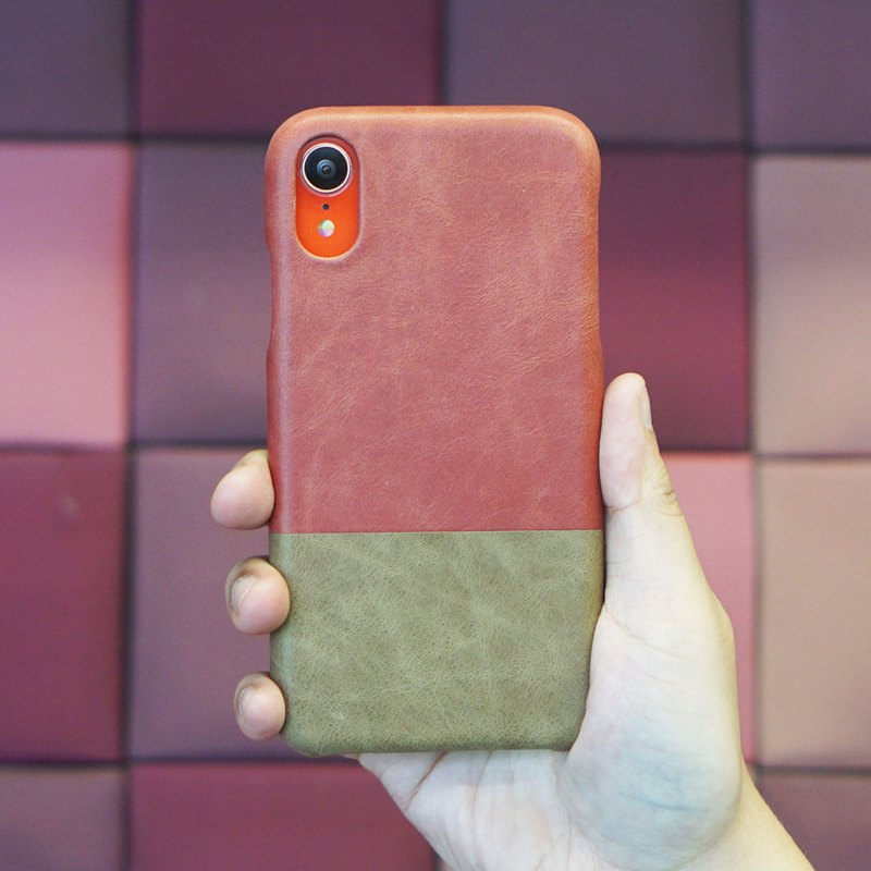 Customized pink with light brown leather IPHONE XR phone case