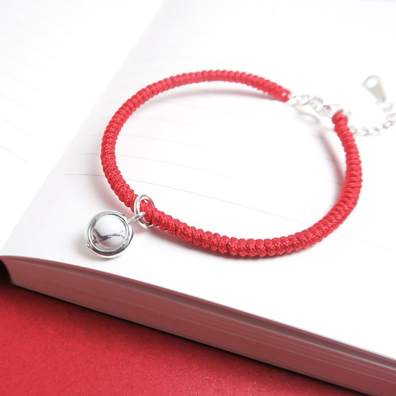 Lucky Ruyi White Stone Natural Stone 925 Sterling Silver Red Rope Braided Bracelet