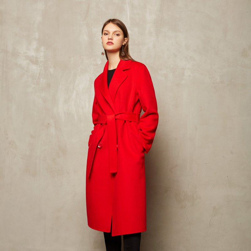 Double-breasted red belt coat jacket [CONTRAST card - JAMIE L.STUDIO]