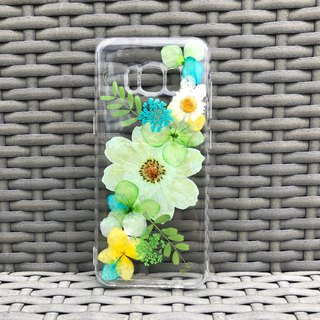 Samsung Galaxy S8 Handmade Dry Pressed Flowers Case Green Flower case 005