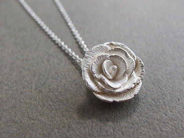 Silver necklace series blooming rose / Rose / Love