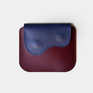 [God's chest pocket] vegetable tanned leather purse wine red X blue leather card holder coin purse