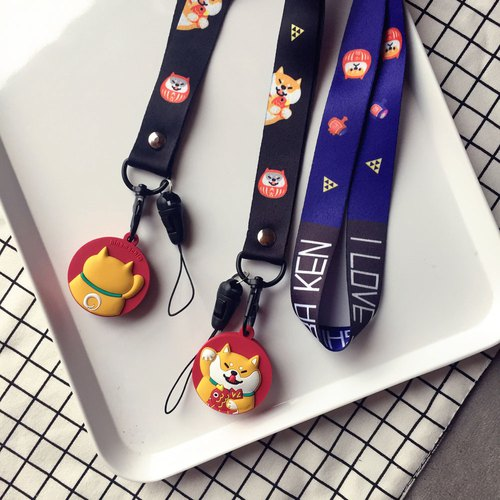 Baise-cho 2018 Dog year lucky Shiba Inu new year gift phone case Damo God double-sided lanyard shiba documents with a mobile phone strap chest strap strap bag Strap