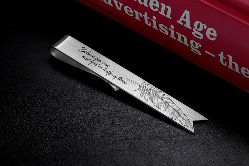 Personalized Bookmark - Feather Bookmark engraved - 925 sterling silver