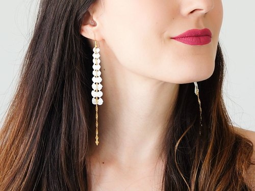 Off White Lace Earrings Dangle Earrings Long Earrings Boho Chic Elegant Earrings Bridal Earrings Bridal Jewelry Gift For Her / CIRICEA