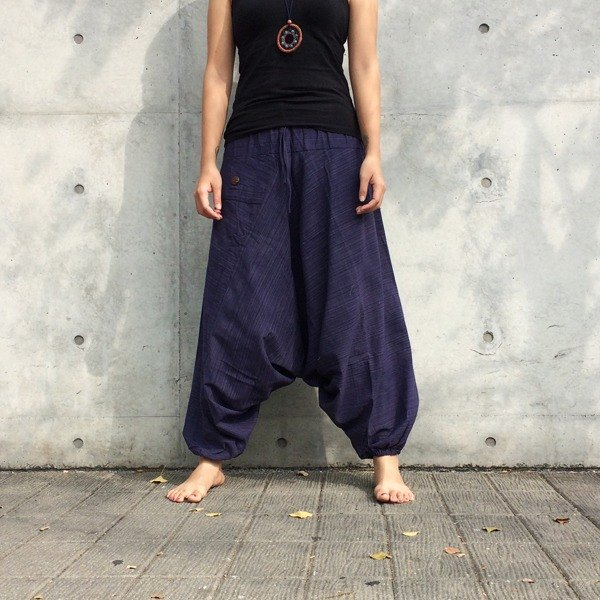 [Travel pants] 2017 March new / Elibaba pants (dark violet) (single bag) (striped cotton)
