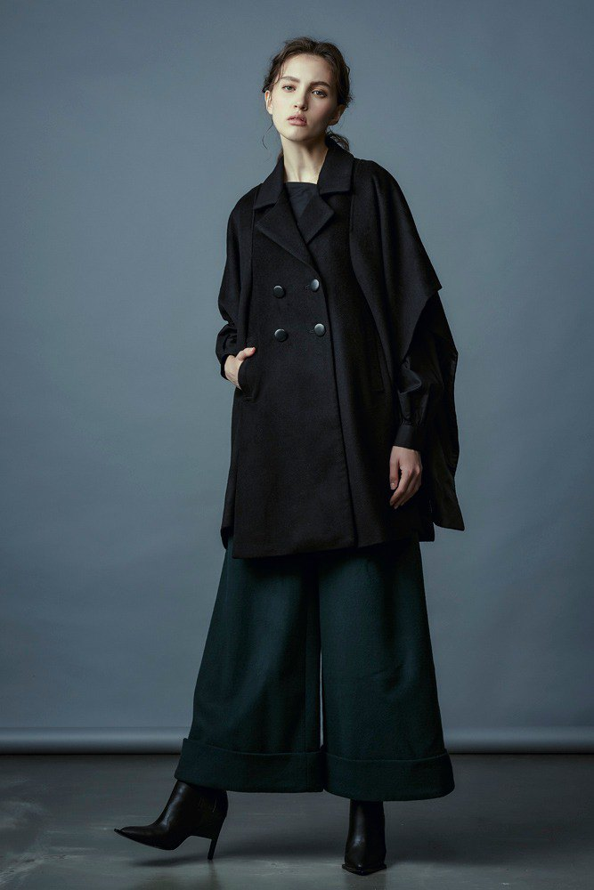 Black wool cloak