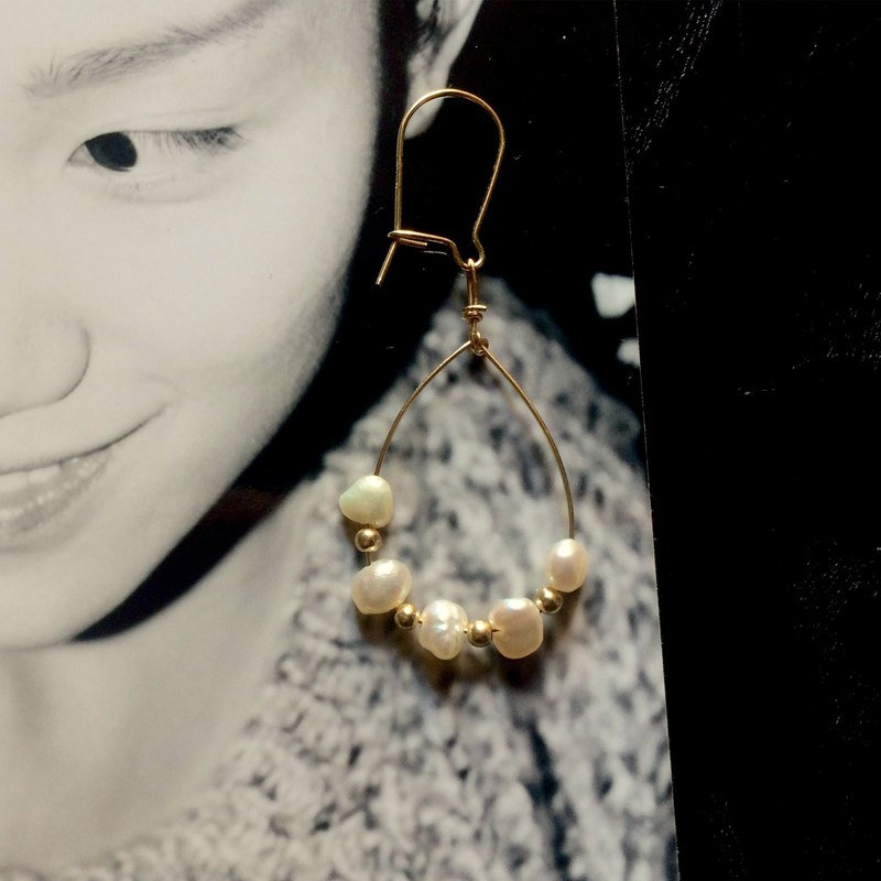 Simple palace style, Retro pearl earrings, Suitable for a variety of collocation, 14kgf, PinkoiENcontent