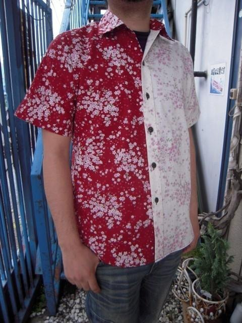 Short-sleeved shirt Japanese Pattern (Sakura) red and white