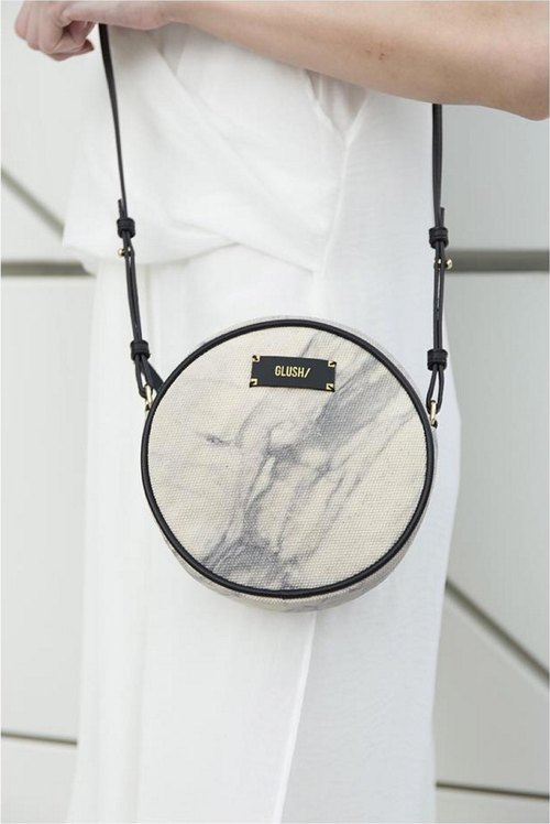 HARD RAYS White Round Crossbody/Clutch  (Removable Strap)