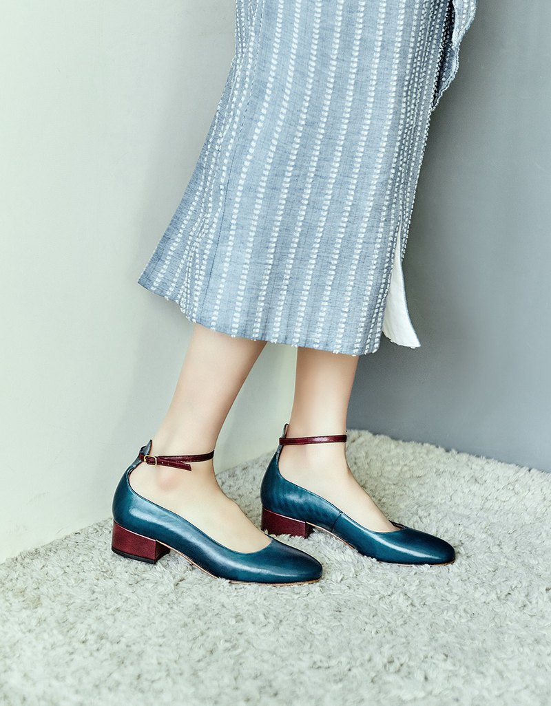HTHREE 3.4 round headband heel shoes / sailor blue / heel shoes / Ankle Belt Heels