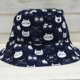 Dark blue comic wind cat face denim small floral double-sided fisherman hat visor