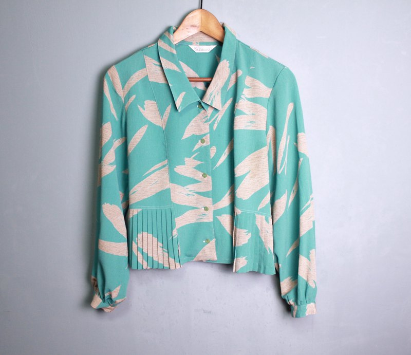 FOAK vintage retro lake water green hundred fold shirt