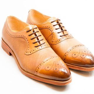 [LMdH] E1A25-89 hand-colored calfskin leather with carved stitching Oxford shoes leather shoes men's shoes - caramel - Free Shipping