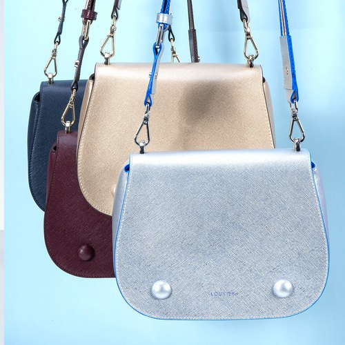 Genuine real Italian leather saddle light weight wide fabric strap bags for girl