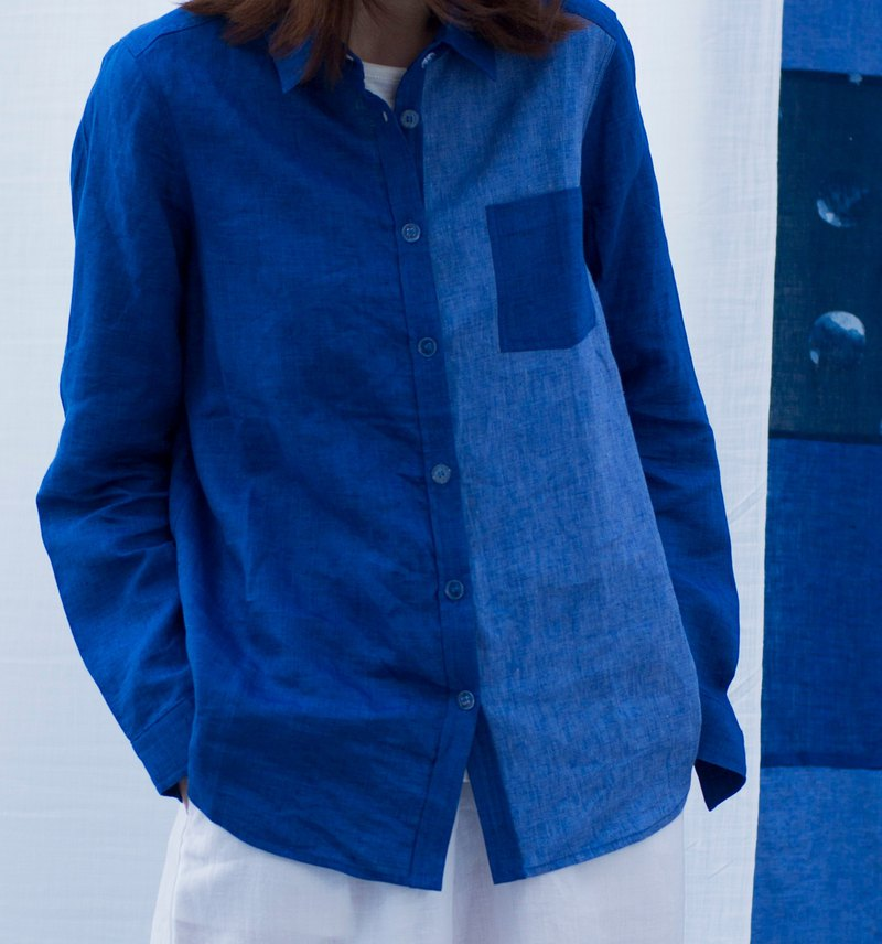 Fete original collage literary linen shirt jacket original design linen fabric c