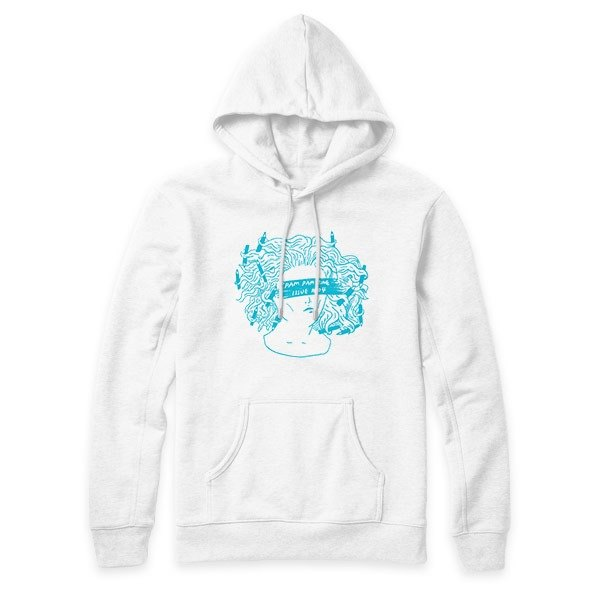 Pencil Touza - Blue - White - Hooded T-Shirt
