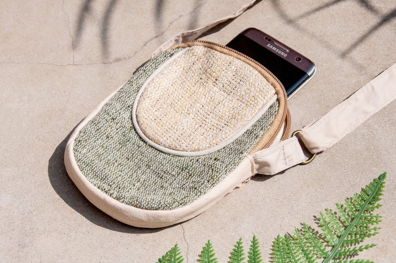 Natural cotton and linen hand-woven cloth mobile phone sets storage bag ticket holder leisure card set - South America green grass original color