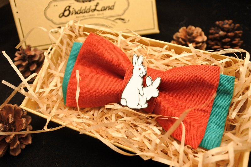 Original handmade bow tie Oh Rabbit Christmas retro contrast color bow tie naughty rabbit Christmas gift