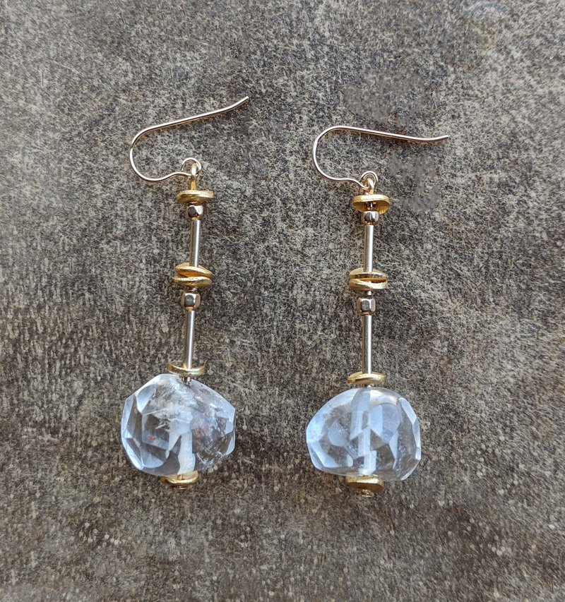Raw Crystal Gold-filled Drop Earrings