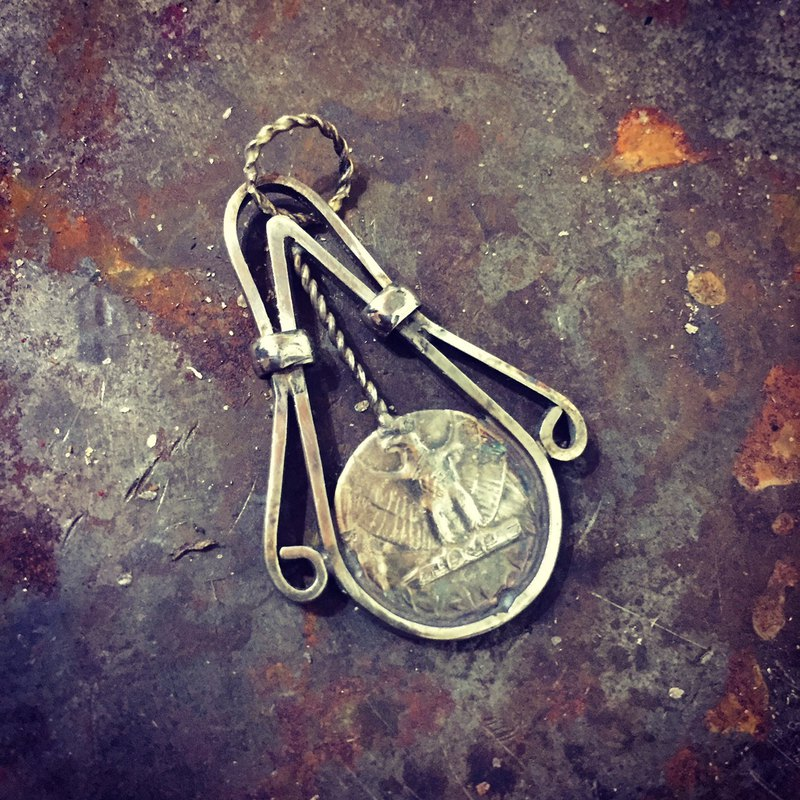25C American old silver coin handmade pendant