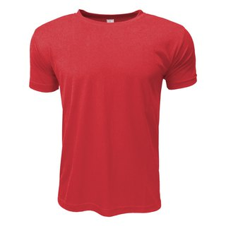 3D straight striped moisture wicking round neck T :: Red:: men and women can wear