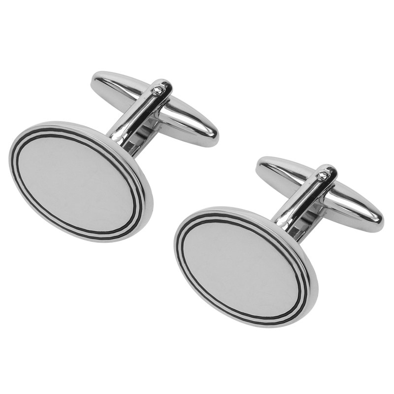 Classic Oval Black Framed Cufflinks