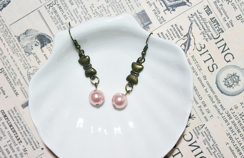 Alloy <pink bow> _ hook earrings => limited X1