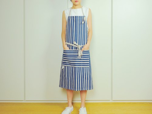 Simplified hand-printed cotton apron adult version of navy blue, dark blue