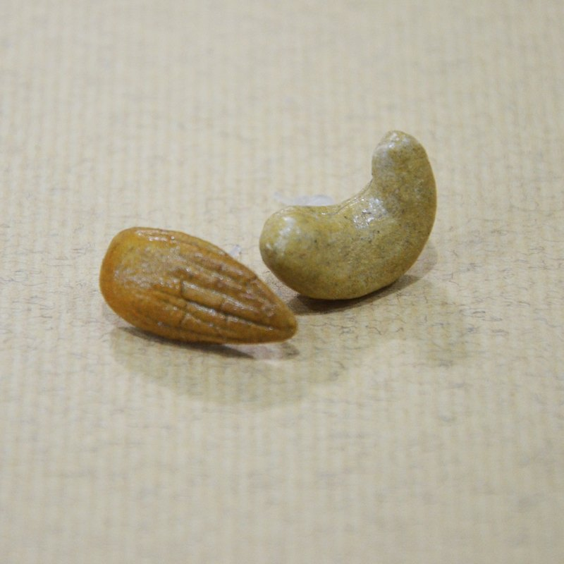 Nuts earrings group (ear acupuncture or clip-on) - cashew & almonds