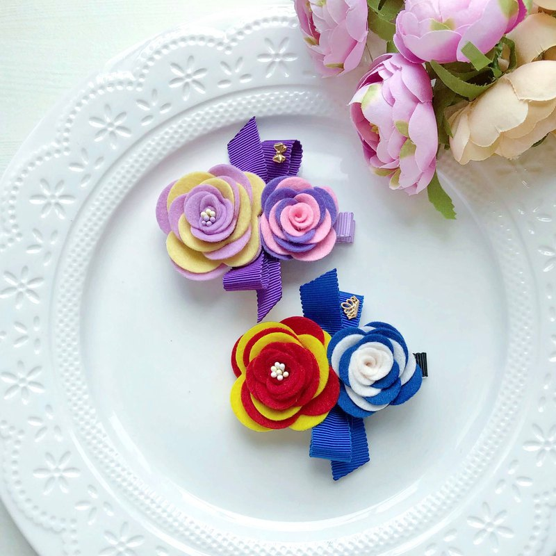 Cartoon color matching colorless non-woven flower Japanese hat with children and girls hairpin - classic