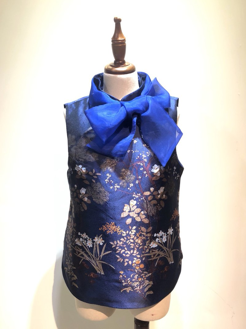 Bow Crossbody Vest - Blue Pine Flower / Customized Products / Taiwan Original Design / Tailor Master Handmade Clothes