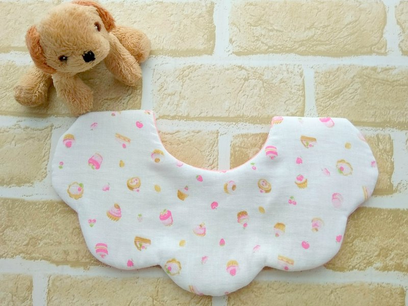 Baby Girl Bib, Cats, Cute Stylish Bib, Reversible, Scalloped Bib, White, Pink