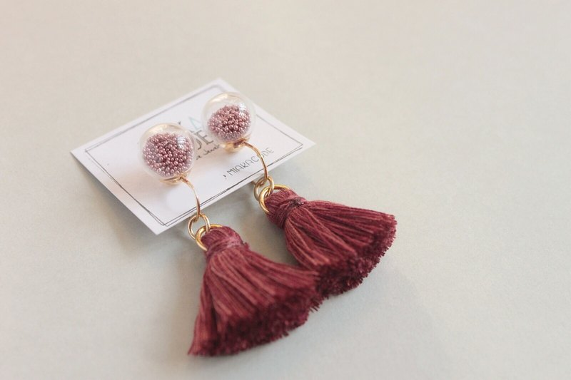 10mm Glass bubble earrings/ear-clips with tassels (Brick red)