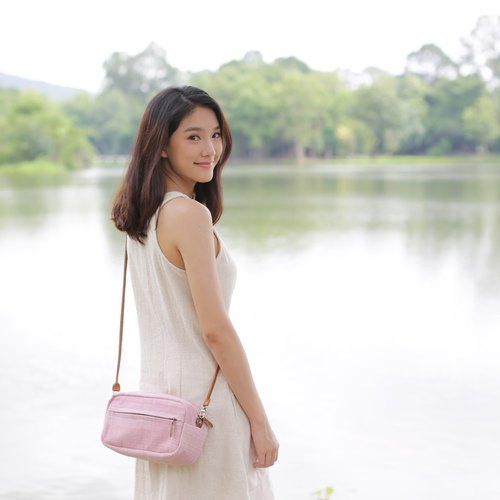 Crossbody Bags Little Tan Width Bag Hand Woven and Botanical Dyed Cotton