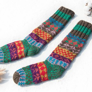 Hand-knitted wool knit socks/striped socks/wool crocheted stockings/warm socks - Nordic Fair Isle Christmas Socks